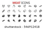 simple modern set of meat icons.... | Shutterstock .eps vector #546912418
