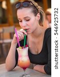 attractive girl drinking... | Shutterstock . vector #546925732