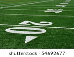 20 Yard Line on American Football Field, Copy Space - stock photo