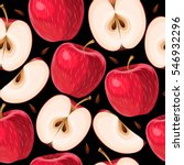 red apples and apple slices... | Shutterstock .eps vector #546932296