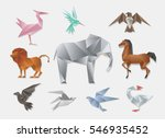 origami animals. vector 3d... | Shutterstock .eps vector #546935452