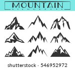 Mountain silhouette for logo, icons, badges and labels, t-shirt print. Camping, climbing, hiking, travel and outdoor recreation symbol. Vector illustration