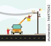 electric technician repair the...   Shutterstock .eps vector #546975262