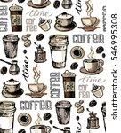 coffee  doodle seamless pattern ... | Shutterstock .eps vector #546995308