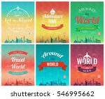Travel Brochure With World...