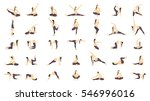 workout for pregnant set. yoga... | Shutterstock .eps vector #546996016