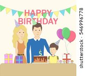 isolated birthday family in the ... | Shutterstock .eps vector #546996778