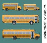 set school buses in flat style...   Shutterstock .eps vector #547005895