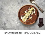 chocolate banana smoothie bowl... | Shutterstock . vector #547025782