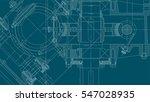 mechanical engineering drawing. ... | Shutterstock .eps vector #547028935