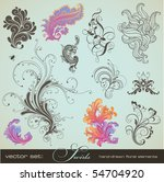 vector set  swirls   variety of ... | Shutterstock .eps vector #54704920