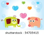 cutie elephant loves piggy   Shutterstock .eps vector #54705415