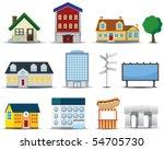 vector buildings icon | Shutterstock .eps vector #54705730