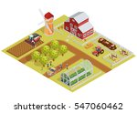 farm isometric template with...