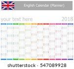 2018 english planner calendar...   Shutterstock .eps vector #547089928