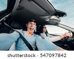screaming couple riding in car... | Shutterstock . vector #547097842