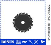 Industrial Saw Icon Flat....