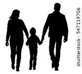silhouette of happy family on a ... | Shutterstock .eps vector #547119706
