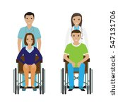 disability people in wheelchair ... | Shutterstock .eps vector #547131706