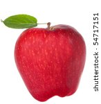 red apple with leaf on white... | Shutterstock . vector #54717151