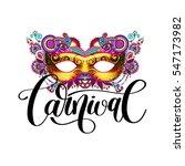 3d gold venetian carnival mask... | Shutterstock .eps vector #547173982