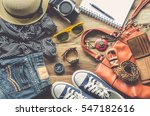 travel clothing accessories... | Shutterstock . vector #547182616