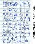 hand drawn hotel icons - stock vector