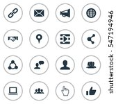 set of 16 simple social icons.... | Shutterstock .eps vector #547194946