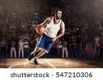 basketball player in light on... | Shutterstock . vector #547210306