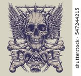 heavy metal inspired skull... | Shutterstock .eps vector #547244215