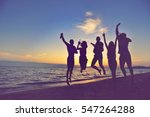 group of happy young people... | Shutterstock . vector #547264288