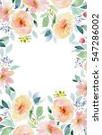Stock photo painted watercolor composition of flowers in pastel colors frame border wreath on white background 547286002