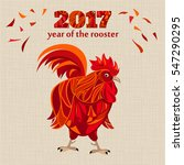 stylized red rooster  fire cock ... | Shutterstock .eps vector #547290295