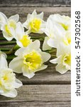 white daffodil flowers on old... | Shutterstock . vector #547302568