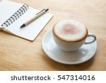 open notebook with coffee cup...   Shutterstock . vector #547314016