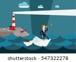 businessman on paper boat... | Shutterstock .eps vector #547322278