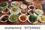 mezze starters including salads ... | Shutterstock . vector #547340662
