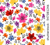 vector floral pattern in doodle ... | Shutterstock .eps vector #547381246