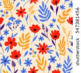 vector floral pattern with... | Shutterstock .eps vector #547381456