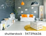 room with chalkboard wall  sofa ... | Shutterstock . vector #547396636