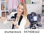 young female make up vlogger... | Shutterstock . vector #547408162
