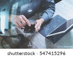 man hand using voip headset... | Shutterstock . vector #547415296