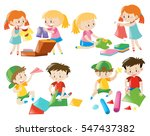 kids doing different activities ... | Shutterstock .eps vector #547437382