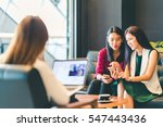 beautiful asian girls using... | Shutterstock . vector #547443436