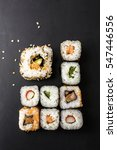 sushi close up on black surface | Shutterstock . vector #547446556