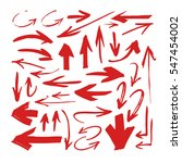 set of hand drawn red paint... | Shutterstock .eps vector #547454002