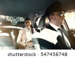 businesswoman riding a car with ... | Shutterstock . vector #547458748