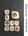 sushi close up on black surface | Shutterstock . vector #547474282