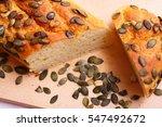 pumpkin seed bread | Shutterstock . vector #547492672