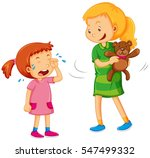 big girl taking bear away from... | Shutterstock .eps vector #547499332
